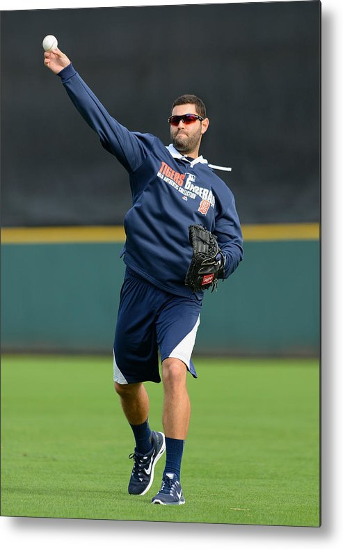 American League Baseball Metal Print featuring the photograph Detroit Tigers Workout by Mark Cunningham