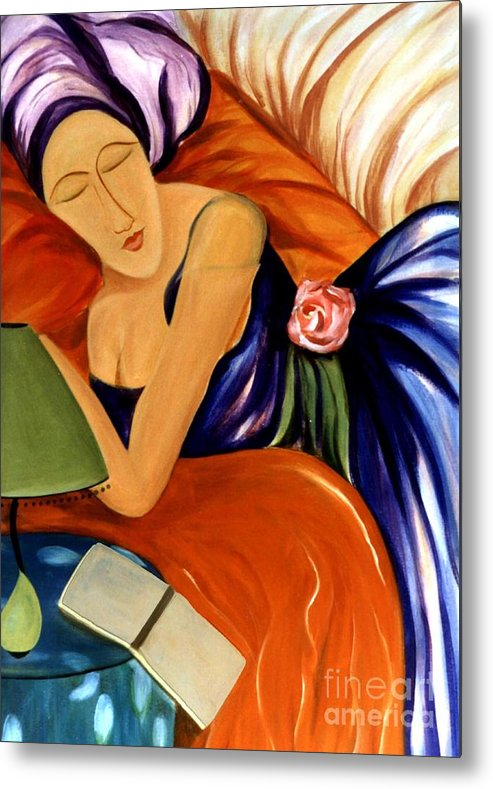 #female #figurative #floral #beauty #dream #fineart #art #images #painting #artist #print Metal Print featuring the painting Dream by Jacquelinemari