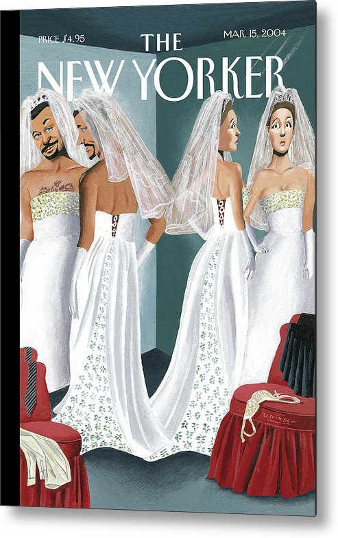 Mul Mark Ulriksen  (woman And Man Trying On Wedding Gowns.) Marriage Weddings Fashion Gay    70095 Metal Print featuring the painting Dress Reversal by Mark Ulriksen