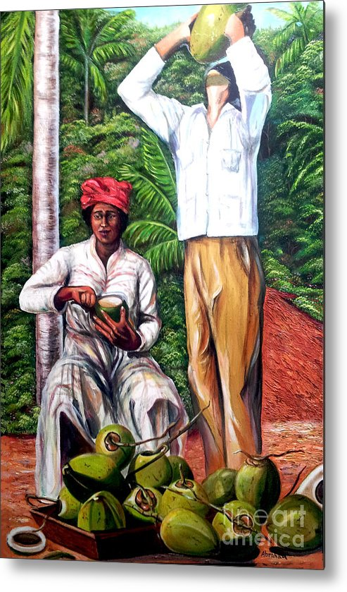 Coconut Metal Print featuring the painting Drinking coconut water by Jose Manuel Abraham