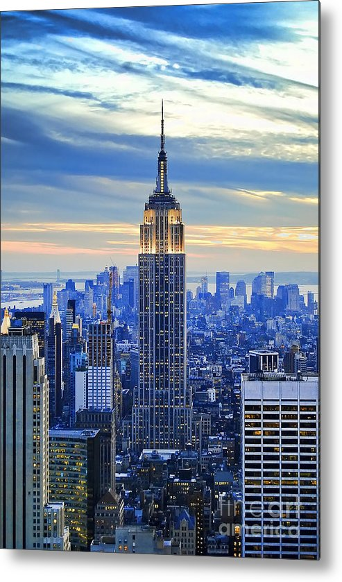 New York City Metal Print featuring the photograph Empire State Building New York City USA by Sabine Jacobs