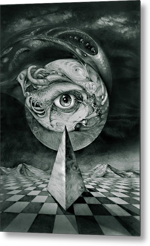 otto Rapp Surrealism Metal Print featuring the drawing Eye Of The Dark Star by Otto Rapp