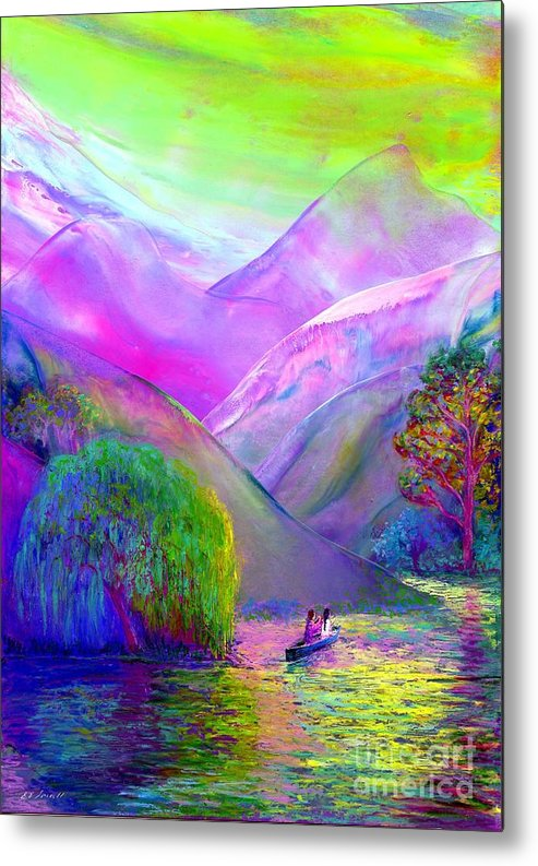 Love Metal Print featuring the painting Love is Following the Flow Together by Jane Small