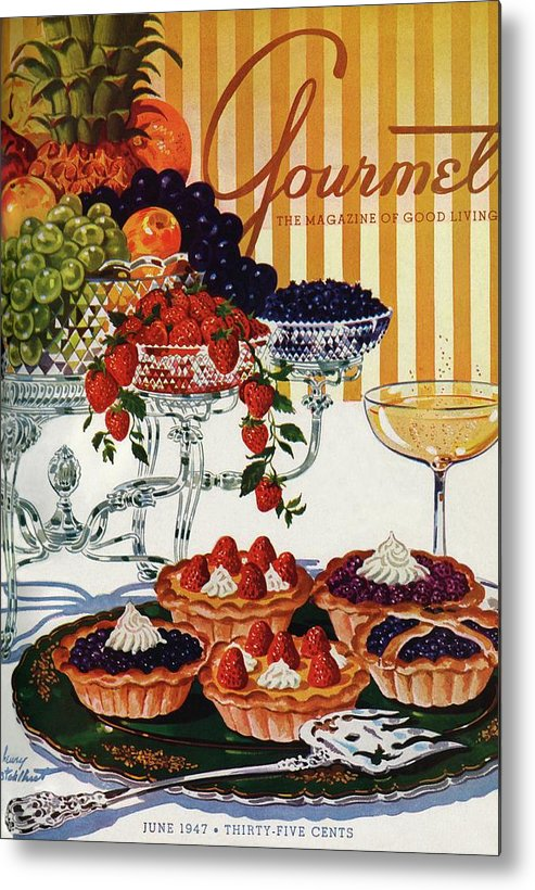 Food Metal Print featuring the photograph Gourmet Cover Of Fruit Tarts by Henry Stahlhut