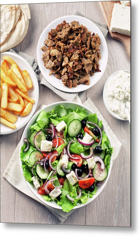 Feta Cheese Metal Print featuring the photograph Greek Salad With Gyros And Fries by Svariophoto