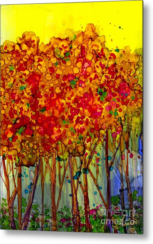 Orange Metal Print featuring the mixed media Happy Trees by Francine Dufour Jones