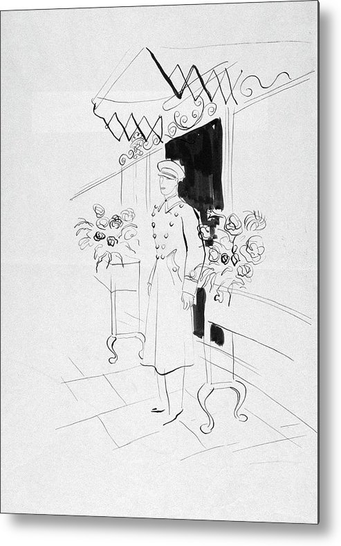 Flowers Metal Print featuring the digital art Illustration Of A Doorman by Rene Bouet-Willaumez