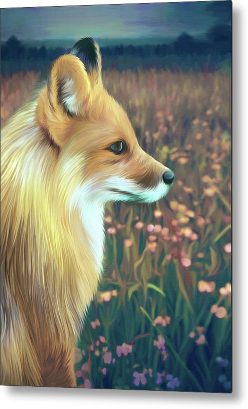 Grass Metal Print featuring the digital art Illustration Of Red Fox by Illustration By Shannon Posedenti