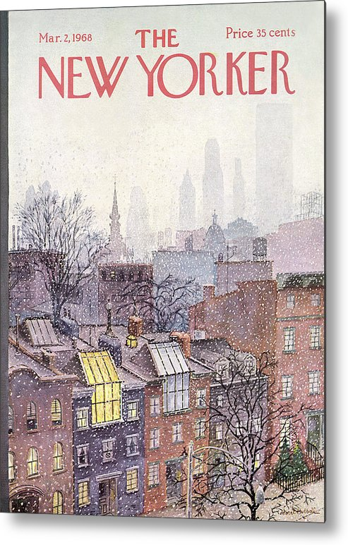 Albert Hubbell Ahu Metal Print featuring the painting New Yorker March 2, 1968 by Albert Hubbell