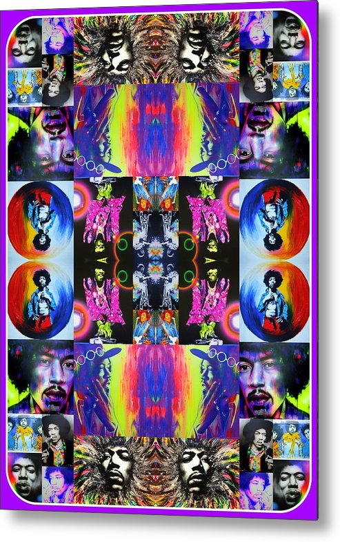 Jimi Hendrix Metal Print featuring the painting Jimi Kaleidoscope I by Christian Chapman Art