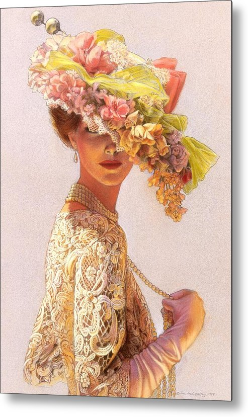 Portrait Metal Print featuring the painting Lady Victoria Victorian Elegance by Sue Halstenberg