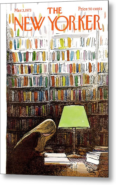 Library Metal Print featuring the painting New Yorker March 3, 1973 by Arthur Getz
