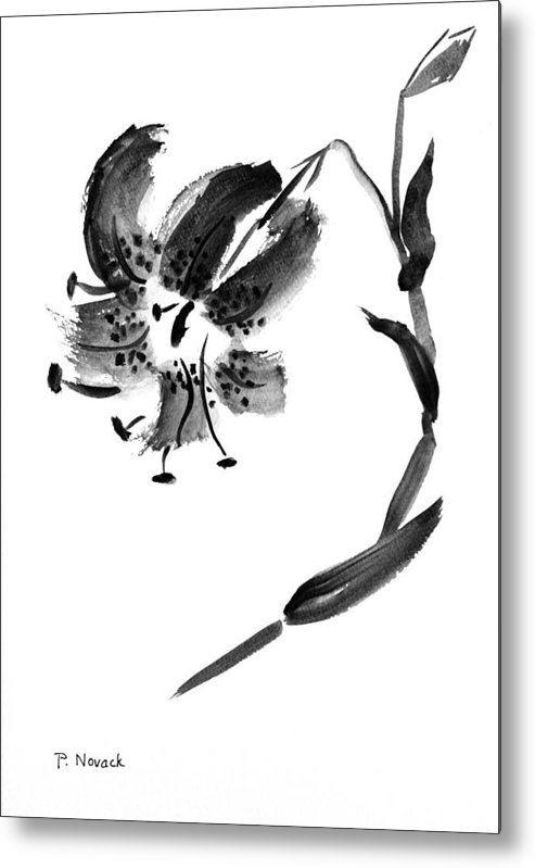 Lily Metal Print featuring the painting Lily In Black by Patricia Novack