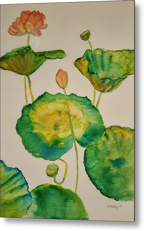 Metal Print featuring the painting Lilypads 1 by Helen Hickey