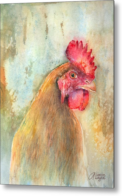 Chicken Metal Print featuring the painting Mr.- In Love With Mrs. by Arline Wagner