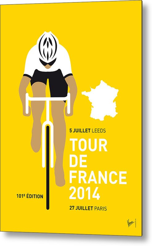 Minimal Metal Print featuring the digital art My Tour De France Minimal Poster 2014 by Chungkong Art