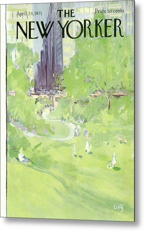 Urban Metal Print featuring the painting New Yorker April 24th, 1971 by Arthur Getz