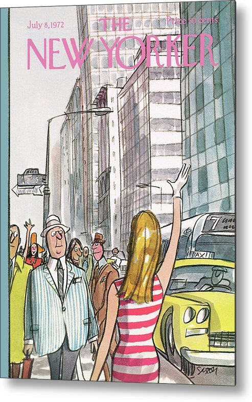 Regional Metal Print featuring the painting New Yorker July 8th, 1972 by Charles Saxon