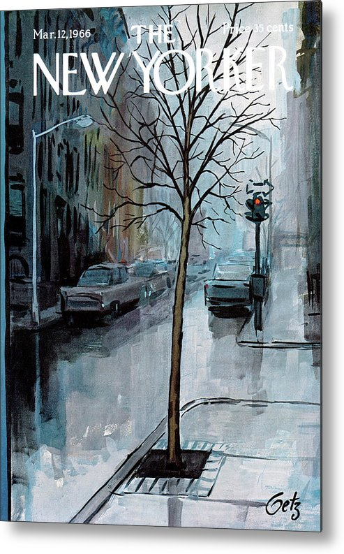 Rain Metal Print featuring the painting New Yorker March 12th, 1966 by Arthur Getz