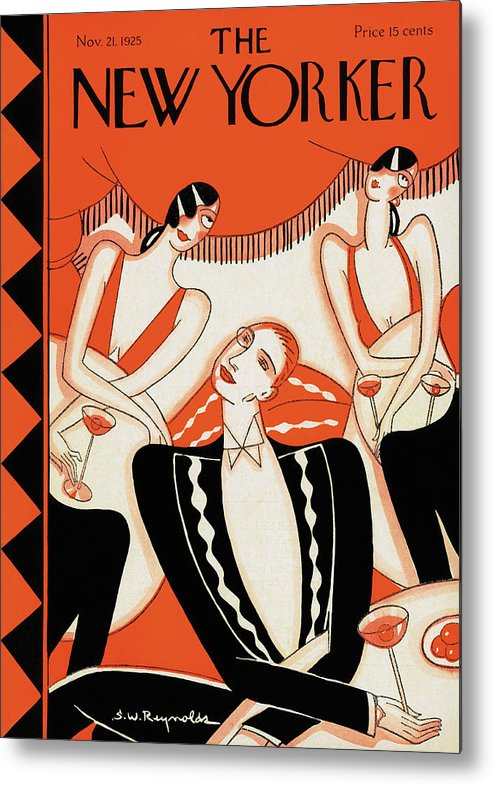Cafe Metal Print featuring the painting New Yorker November 21st, 1925 by Stanley W Reynolds