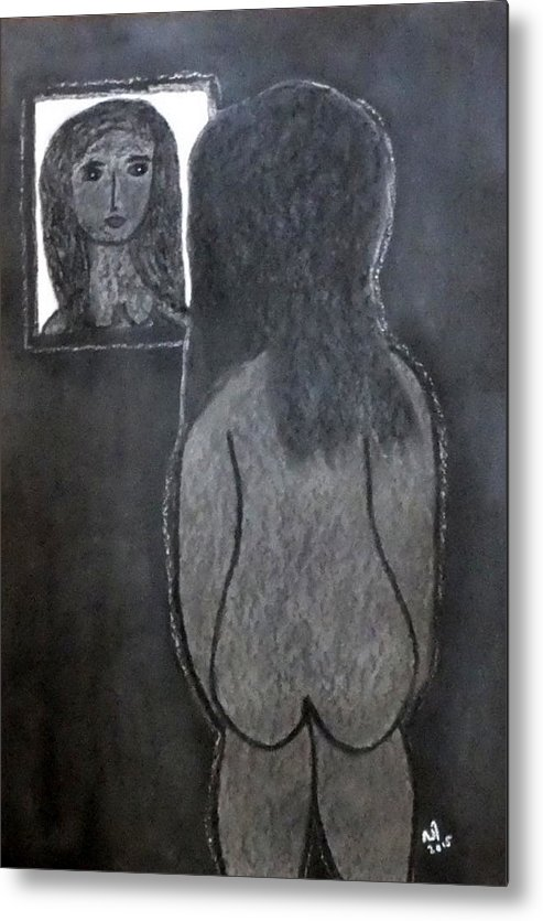 Nude Metal Print featuring the drawing No. 426 by Vijayan Kannampilly
