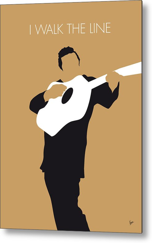 Johnny Metal Print featuring the digital art No010 MY Johnny Cash Minimal Music poster by Chungkong Art