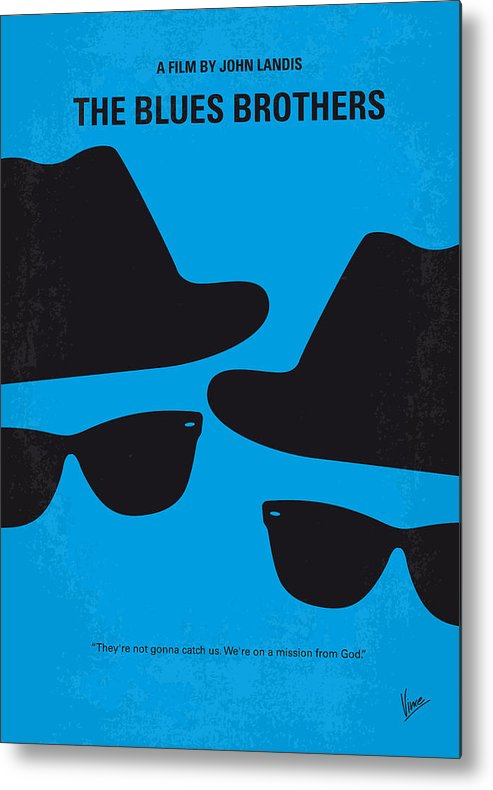 Blues Metal Print featuring the digital art No012 My blues brother minimal movie poster by Chungkong Art