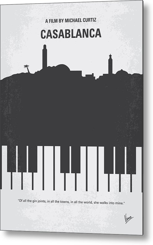 Casablanca Metal Print featuring the digital art No192 My Casablanca minimal movie poster by Chungkong Art