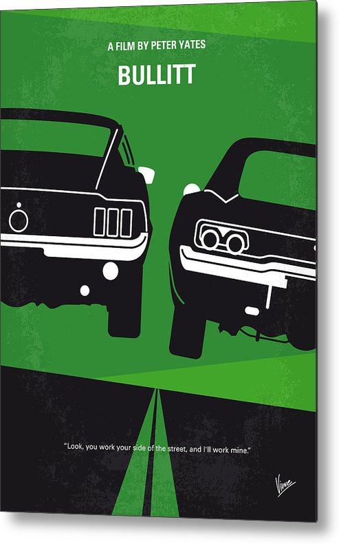 Frank Metal Print featuring the digital art No214 My BULLITT minimal movie poster by Chungkong Art