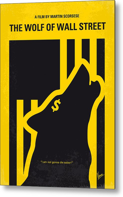 The Metal Print featuring the digital art No338 My wolf of wallstreet minimal movie poster by Chungkong Art