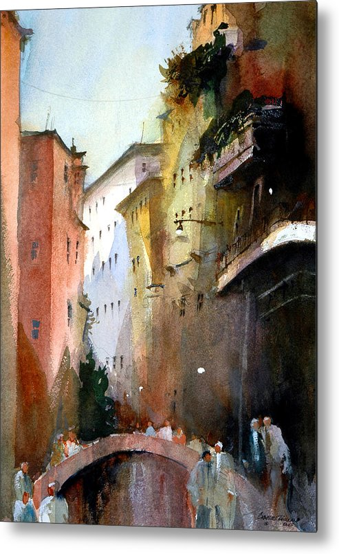 Venice Metal Print featuring the painting On the Canal - Venice by Charles Rowland