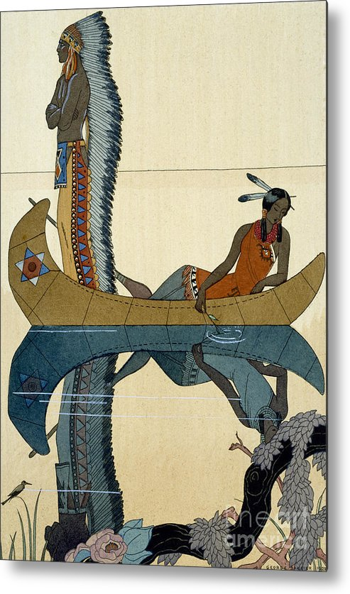 Le Long Du Missouri Metal Print featuring the painting On the Missouri by Georges Barbier