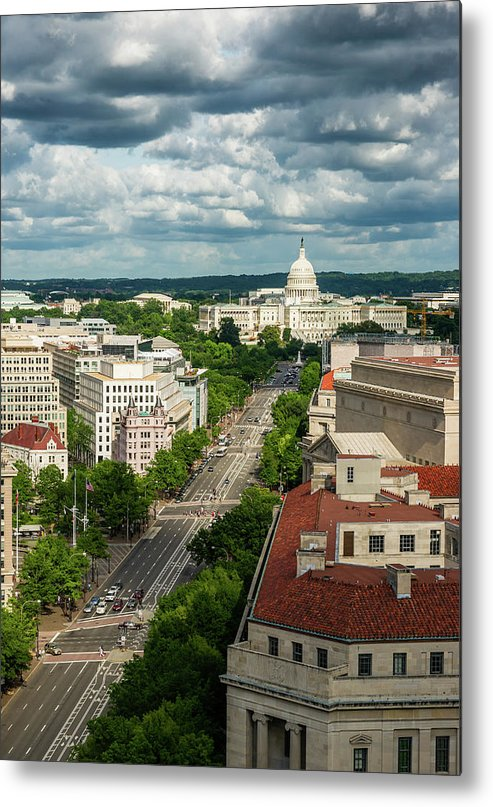 Built Structure Metal Print featuring the photograph Pennsylvania Avenue Leading Up To The by Miralex