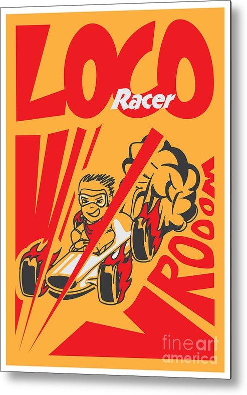 Motor Metal Print featuring the digital art Retro Poster Cartoon Vintage Race Car by Pedro Alexandre Teixeira