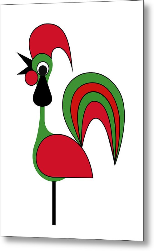 Rooster From Porto Metal Print featuring the digital art Rooster from Porto by Asbjorn Lonvig