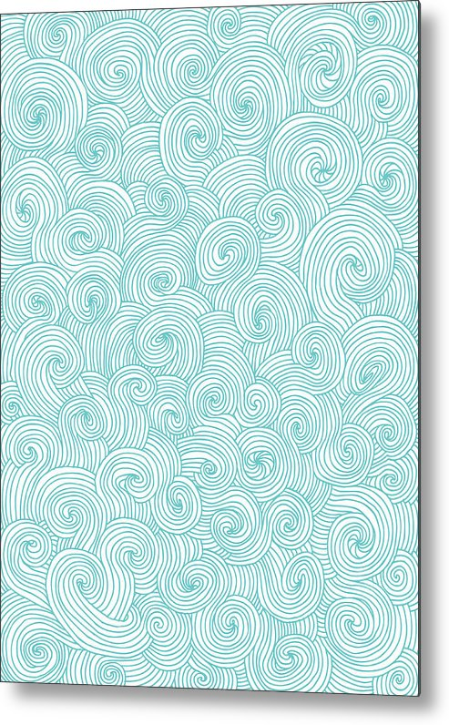 Curve Metal Print featuring the digital art Seamless Pattern Of Doodle Swirls And by Beastfromeast