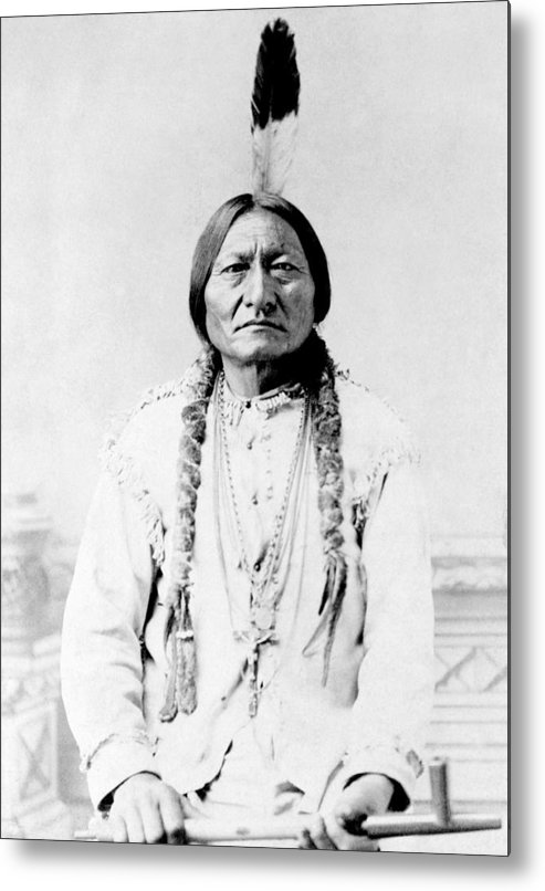 Native American Metal Print featuring the photograph Sioux Chief Sitting Bull by War Is Hell Store