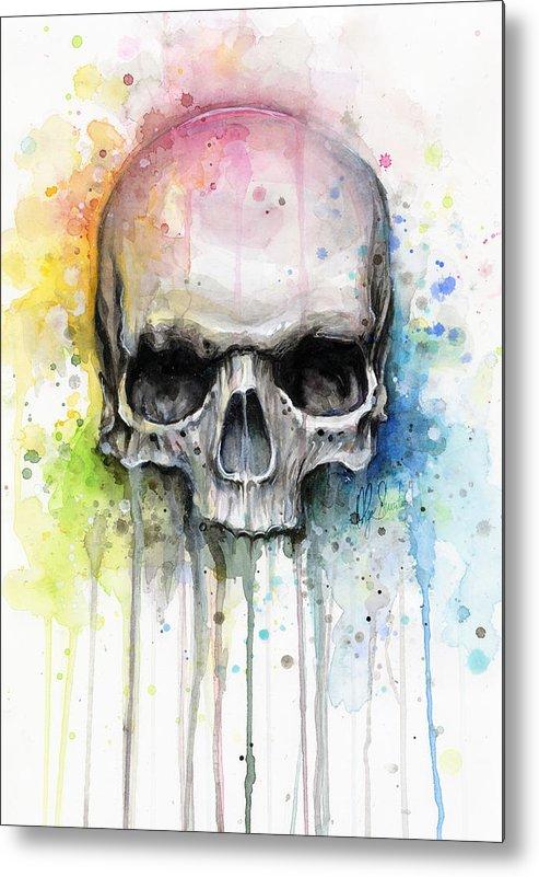 Skull Metal Print featuring the painting Skull Watercolor Painting by Olga Shvartsur