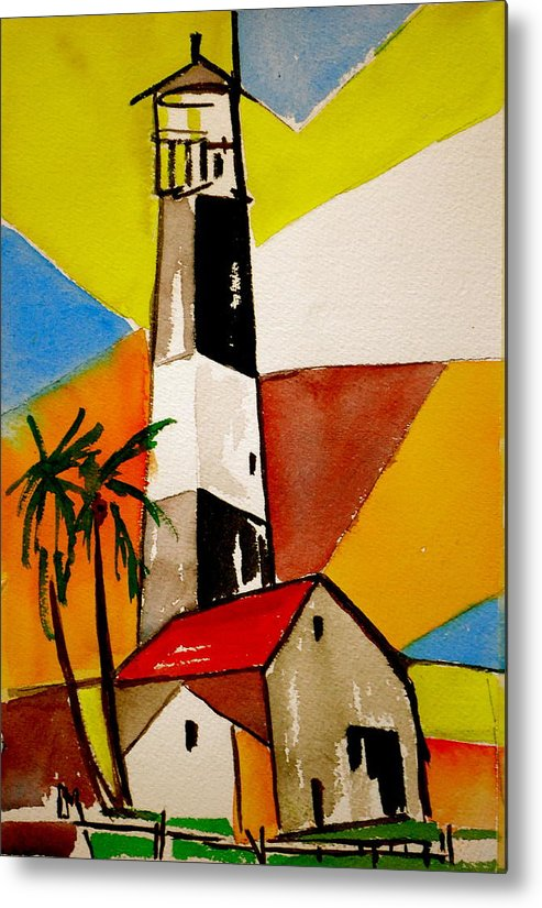 Lighthouse Metal Print featuring the painting Tybee Lighthouse by Pete Maier