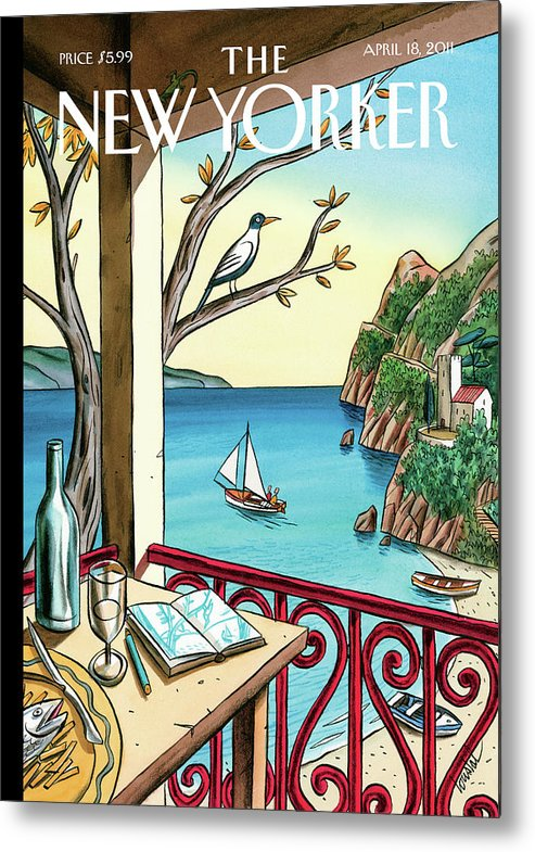 Balcony Metal Print featuring the painting Drawing While Waiting by Jacques de Loustal
