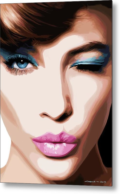 Amazing Girl Metal Print featuring the digital art Wink - Pretty Faces Series by Gabriel T Toro