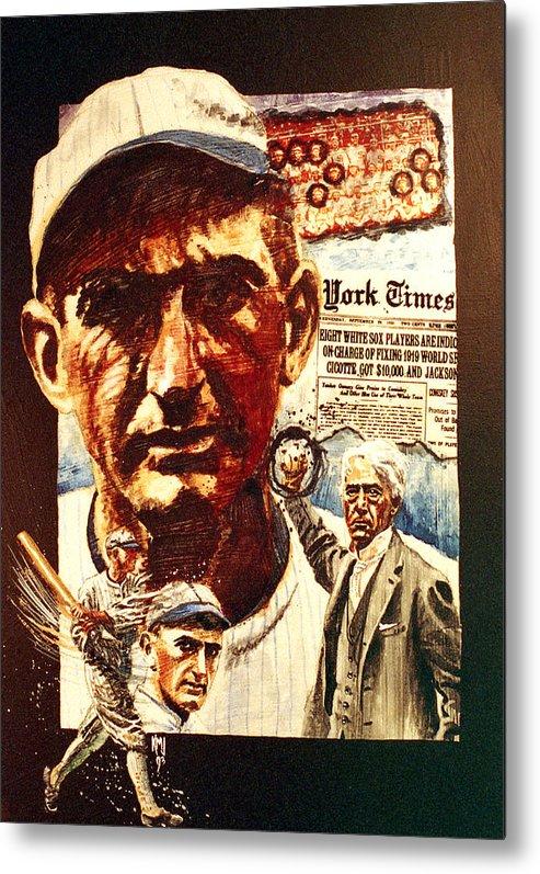 Baseball Metal Print featuring the painting Black Sox by Ken Meyer jr