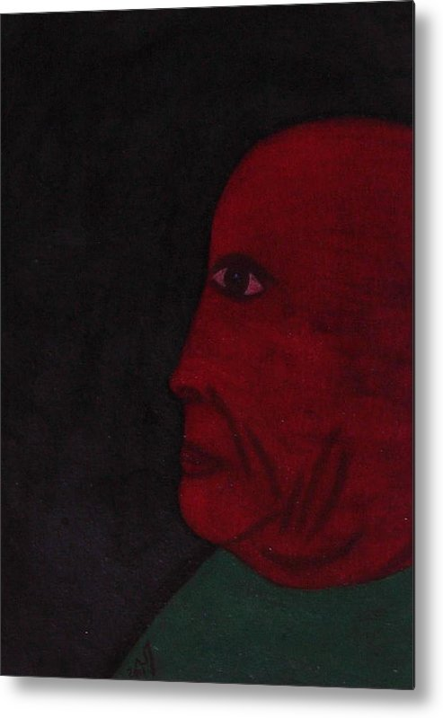 Portrait Metal Print featuring the painting no. 358 Portrait of an Old Man by Vijayan Kannampilly