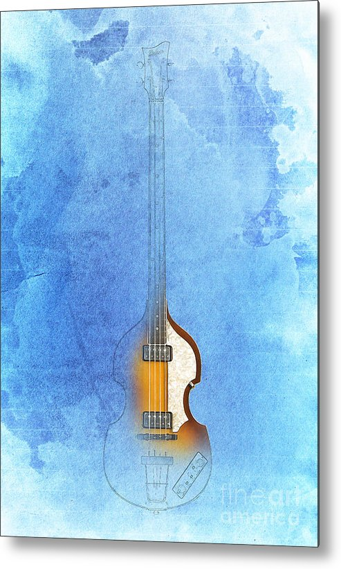 Bass Metal Print featuring the digital art Hofner by Drawspots Illustrations
