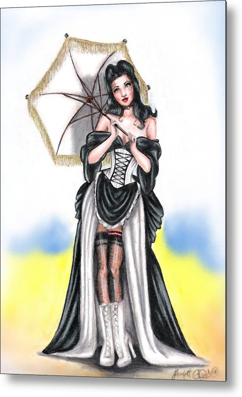 Pin-up Metal Print featuring the drawing Miss Flirt by Scarlett Royal