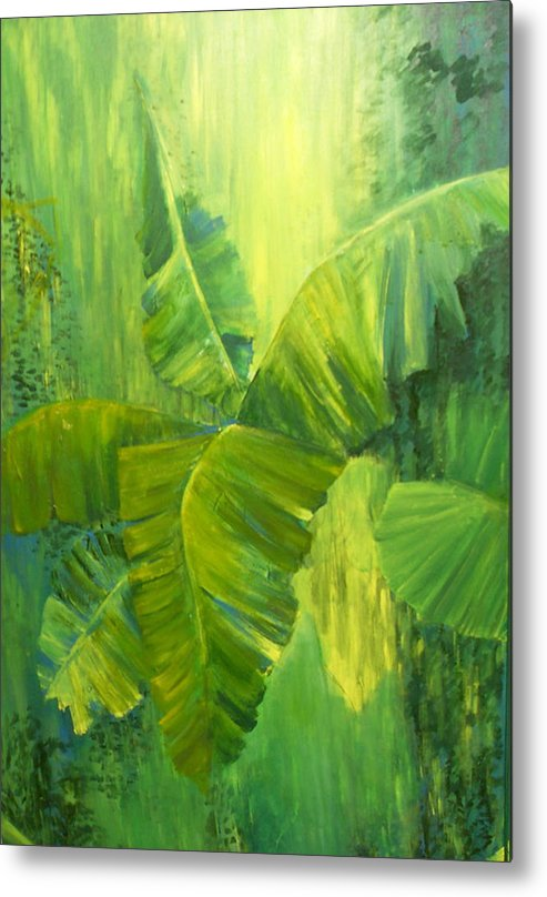 Rain Forest Nature Metal Print featuring the painting Rain Forest by Carol P Kingsley