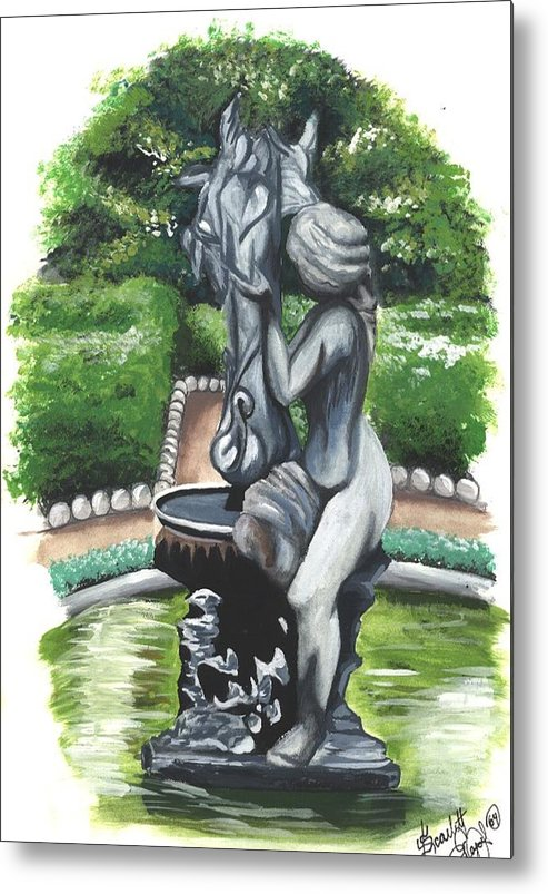 Fountain Metal Print featuring the painting The Hidden Fountain by Scarlett Royal