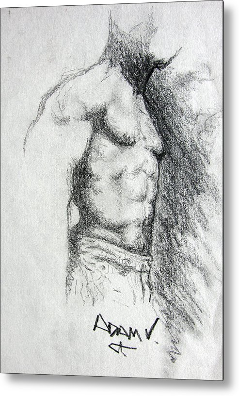 Men Metal Print featuring the drawing Untitled by Adam Vance
