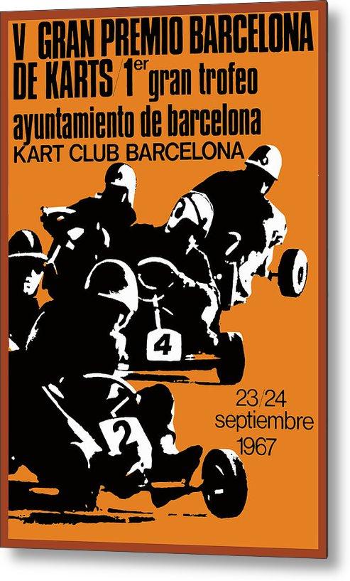 1967 Barcelona Kart Racing Poster Metal Print By Retro Graphics