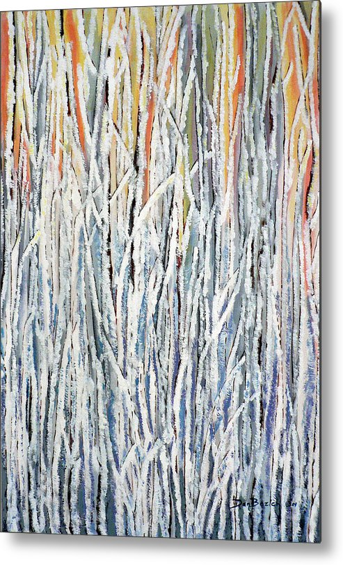 Heavy Frost On Willows Metal Print featuring the painting Cold Frosty Morn by Dan Bozich
